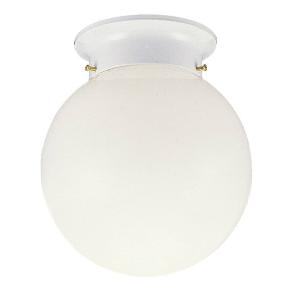 Design House 510032 Ceiling Mount With Opal Glass, White Finish