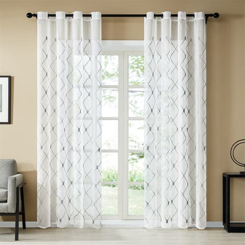 Topfinel Embroidered Semi-Sheer Grommet Curtain Panels(Set of 2)