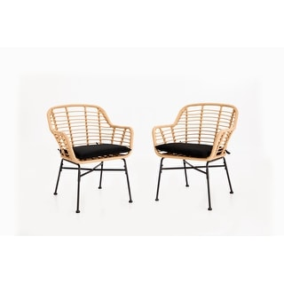 Link to Sichee Brown Wicker Outdoor Accent Chairs (Set of 2) by Havenside Home Similar Items in Patio Furniture