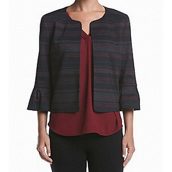 Nine West Black Womens Size 14 Striped Open Front Ruffle Jacket