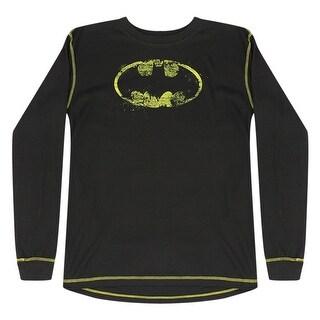 DC Comics Batman Stencil Style Yellow Logo Grey Long Sleeve Tee