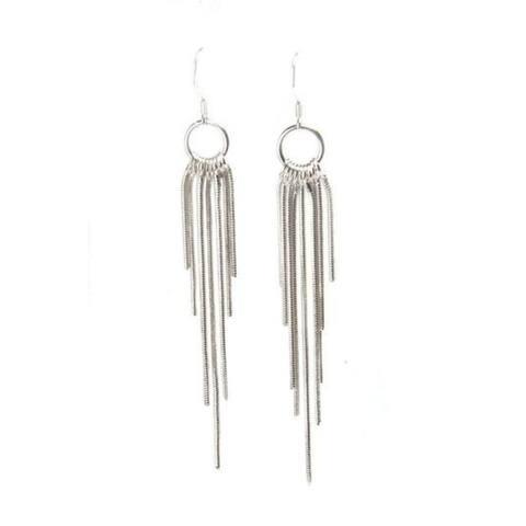Designer Olina Sterling Silver Fringe Tassel Earrings
