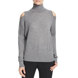 Vince Womens Turtleneck Sweater Merino Wool Cut-Out