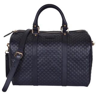 "Gucci Blue Leather 449646 Micro GG Guccissima Boston Bag Satchel W/Strap - Navy Blue - 13"" x 9.5"" x 7"""