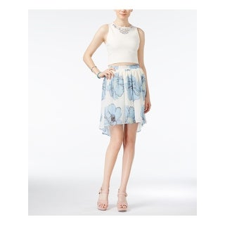 IN AWE Womens Light Blue CRINOLINE Floral Above The Knee A-Line Skirt  Size: S