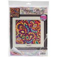"Paisley Needlepoint Kit-10""X10"" Stitched In Yarn"