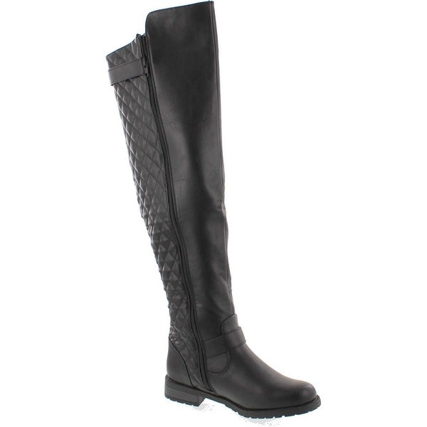 West Blvd Detroit Quilted Riding Thigh High Over The Knee Boots