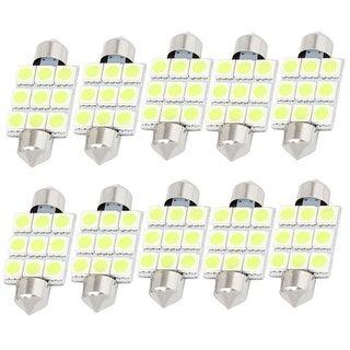 """Unique Bargains 10Pcs White 9-SMD 5050 LED 1.54"""" 39mm 12V Car Festoon Dome Lights 6423 Internal"""