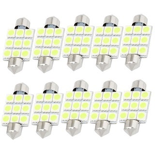 "Unique Bargains 10Pcs White 9-SMD 5050 LED 1.54"" 39mm 12V Car Festoon Dome Lights 6423 Internal"