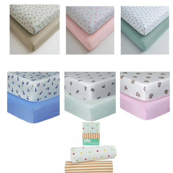 Cuddles & Cribs Pack of 2 GOTS certified Cotton Fitted Crib Sheet Set - 28 x 52 x 8 inches. Opens flyout.