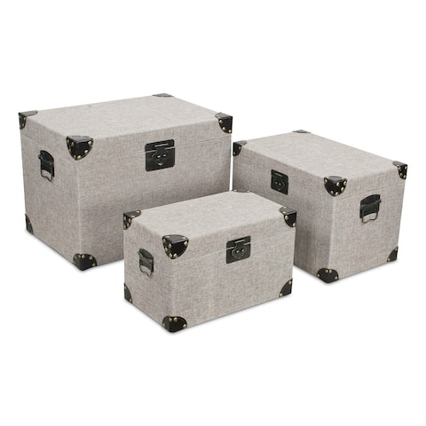"""Set of 3 Gray and Black Trunk Storage, 20.5"""""""