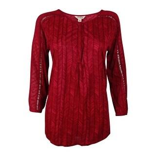 Lucky Brand Women's Textured Crochet-detail Top - Red - s