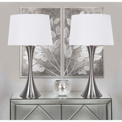 Copper Grove Alchevsk Modern Table Lamps with Drum Shades (Set of 2)