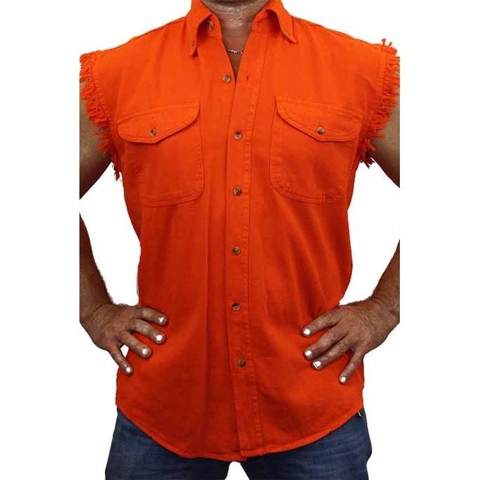 Sleeveless Denim Shirt Biker Motorcycle Button Down Muscle 8 Colors t-shirt