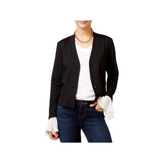 In Awe of You by AWESOMENESS TV Womens Juniors Jacket Chiffon Trim Button Front