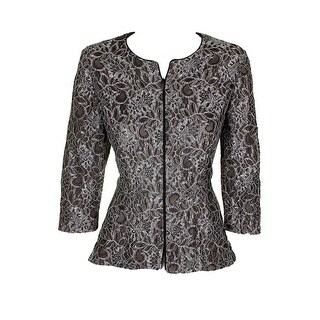 Alex Evenings Black Silver 3/4-Sleeve Lace Open Front Evening Jacket L