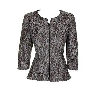 Alex Evenings Black Silver 3/4-Sleeve Lace Open Front Evening Jacket L