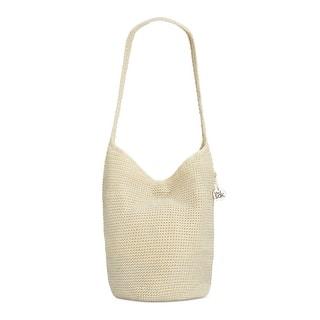 The Sak Womens Palm Spring Hobo Handbag Metallic Crochet Medium