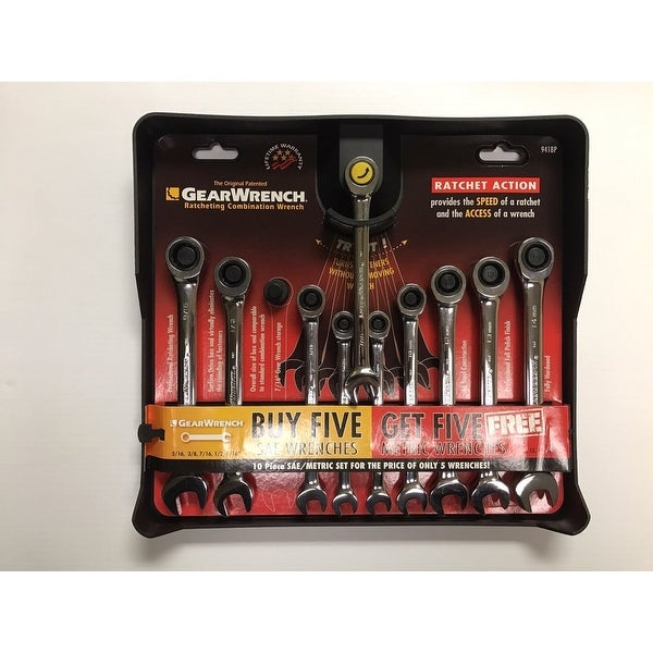Gearwrench 10 Piece Ratcheting Combination Wrench Set