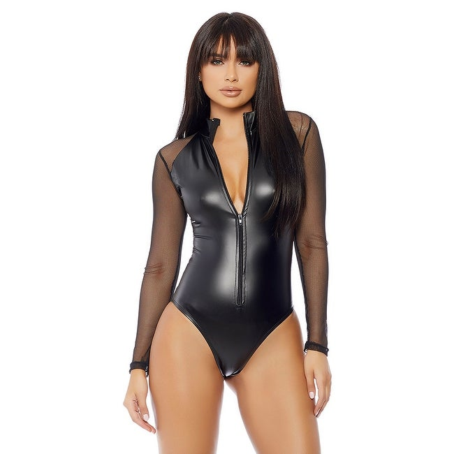 Women's Clothing Clothing, Shoes & Accessories Inventive Forplay Black High Collar Micro Net Bodysuit Buy One Give One