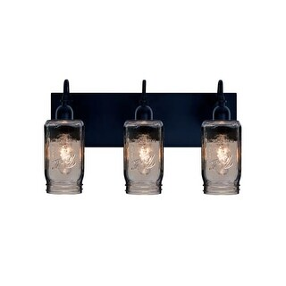 Besa Lighting 3WG-MILO4SM Milo 3 Light Vanity Strip with Smoke Glass Jar Shades