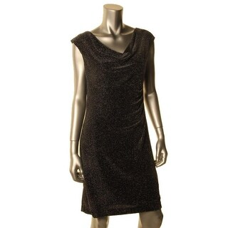 Lauren Ralph Lauren Womens Petites Metallic Cowl Neck Cocktail Dress - 12P