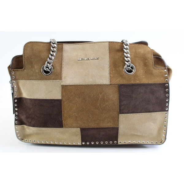 e23d9852974528 Shop Michael Kors NEW Brown Suede Large Astor Patchwork Shoulder Bag ...