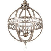 "Park Harbor PHPL5204 21"" Wide 4 Light Chandelier with Globe Cage Frame"