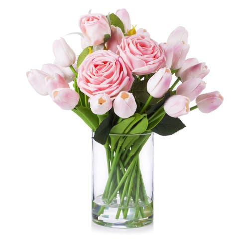 Enova Home Mixed Pink Artificial Real Touch Tulip and Roses Fake Silk Flowers Arrangement in Clear Glass Vase for Decoration
