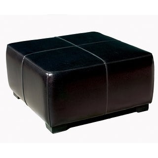 Baxton Studio Black Full Leather Square Ottoman Footstool