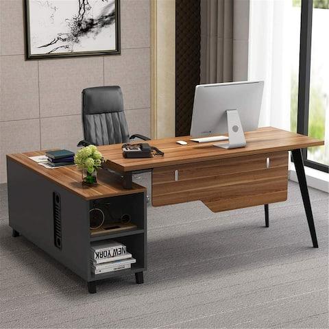 L-Shaped Desk with Storage Shelves and File Cabinet - Dark-walnut