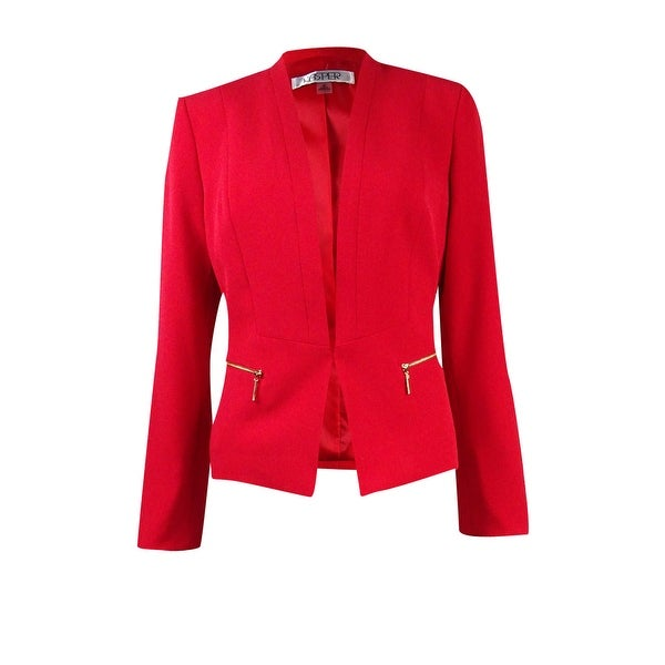 0b98500a940 Shop Kasper Women s Petite Collarless Zip Pocket Crepe Jacket - Poppy Red -  4P - Free Shipping Today - Overstock - 17605775