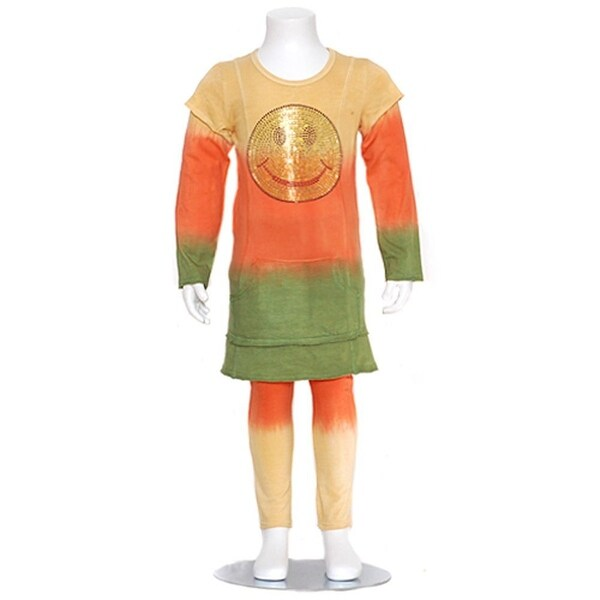 Orange Bling Smiley Face Double Layer Outfit Toddler Little Girls 3M-8