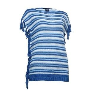 American Living Women's Fringed Striped Bateau Sweater - Blue Multi
