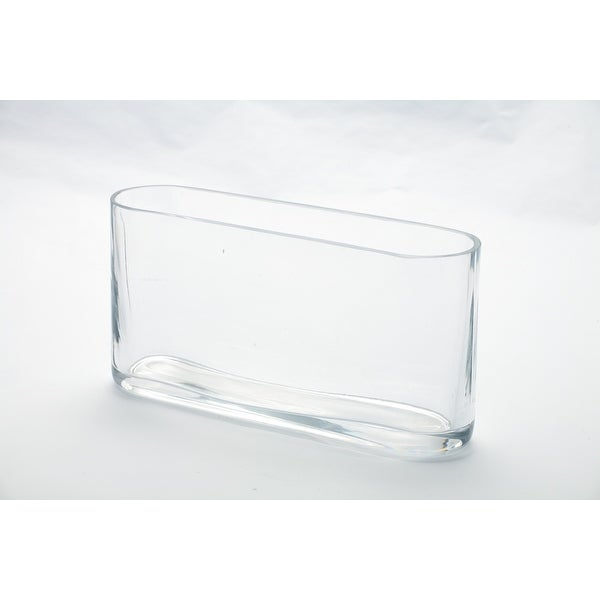 """10"""" Clear Transparent Oval Glass Vase Tabletop Decor - N/A"""