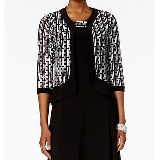 R&M Richards NEW Black White Womens Size 8 Open-Front Sequin Jacket