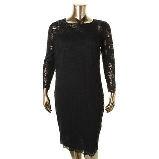 Vince Camuto Womens Plus Casual Dress Lace Scoop Neck