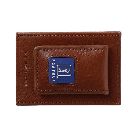PGA TOUR Men's Leather Magnetic Money Clip with ID Window - One size