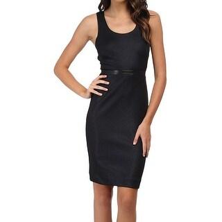 Nicole Miller NEW Blue Women Size 8 Pleather Glazed Sheath Dress