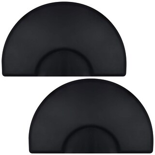 Saloniture 3 ft. x 5 ft. Salon & Barber Shop Chair Anti-Fatigue Floor Mat - Black Semi Circle - 1/2 in. Thick - 2 Pack