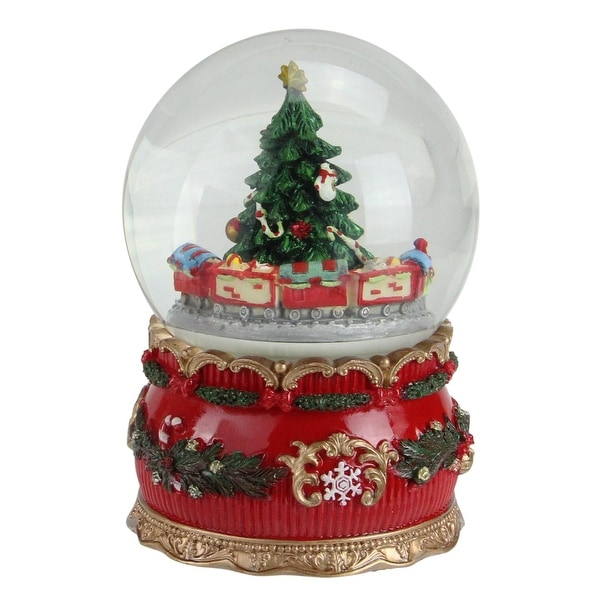 """6"""" Musical Christmas Tree and Train Animated Water Globe Table Top Decoration"""