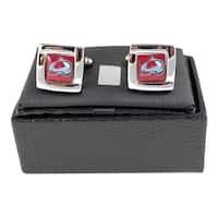 "NHL 5/8"" Colorado Avalanche Square Cufflinks with Square Shape Logo Design Gift Box Set"