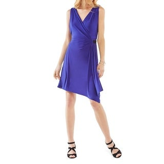 BCBG Max Azria Womens Eda Wrap Dress Sleeveless A-Line