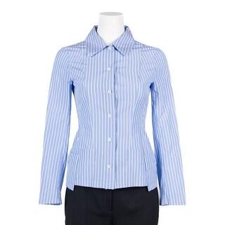 Maison Margiela Blue Cotton Pinstripe SlimFit Button-Up Shirt