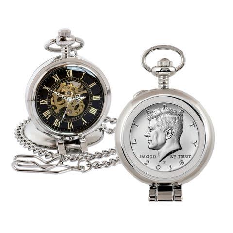 JFK Half Dollar Coin Pocket Watch with Skeleton Movement - 2.75 x 1.5