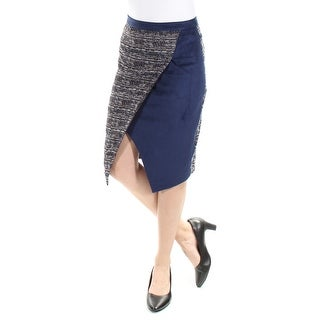 CATHERINE MALANDRINO $198 Womens New 1470 Navy Below The Knee Tulip Skirt 2 B+B
