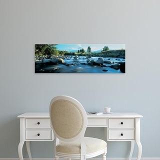 Easy Art Prints Panoramic Image 'Rocks in the river, Mount Taranaki, Taranaki, North Island, New Zealand' Canvas Art