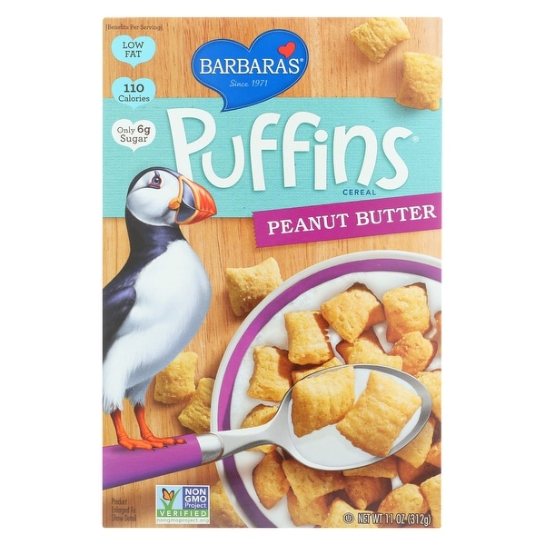 Barbara's Bakery Puffins Cereal - Peanut Butter - Case of 12 - 11 oz.