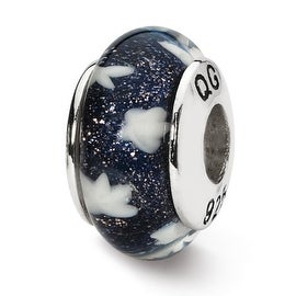 Sterling Silver Reflections Blue/White Stars Hand-blown Glass Bead (4mm Diameter Hole)