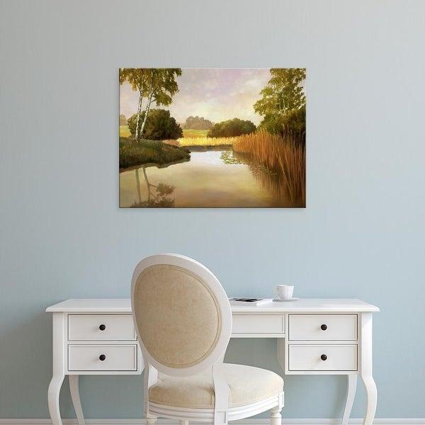 Easy Art Prints Graham Reynolds's 'Reeds, Birches & Water I' Premium Canvas Art